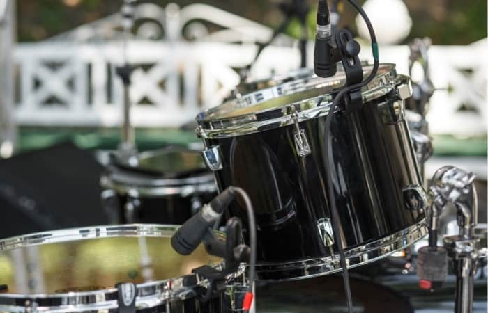 Drum kit with stage mics