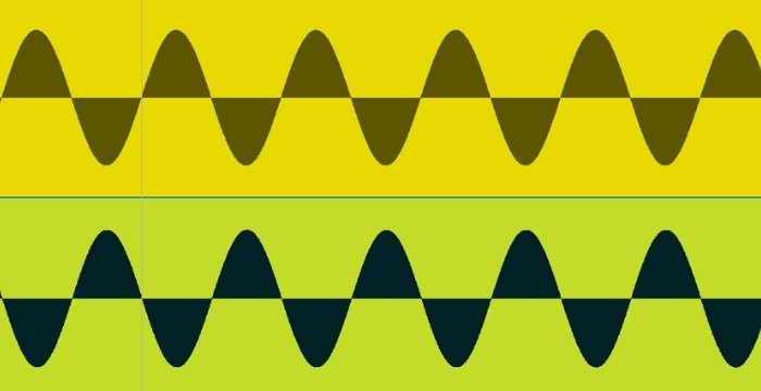 An example of the two signals being out of phase