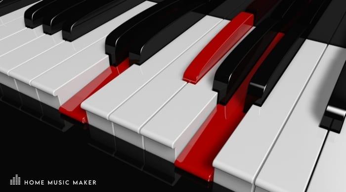 D Major Chord on Piano keys