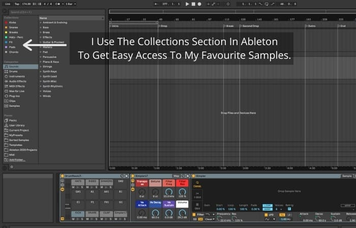 I Use The Collections Section In Ableton To Get Easy Access To My Favourite Samples.