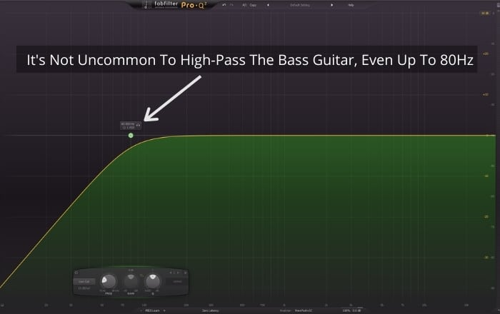 It's not uncommon to  high-pass bass guitar even up to 80Hz