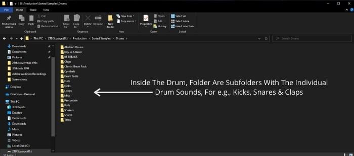 Inside the sample folder Structure in Windows 10.