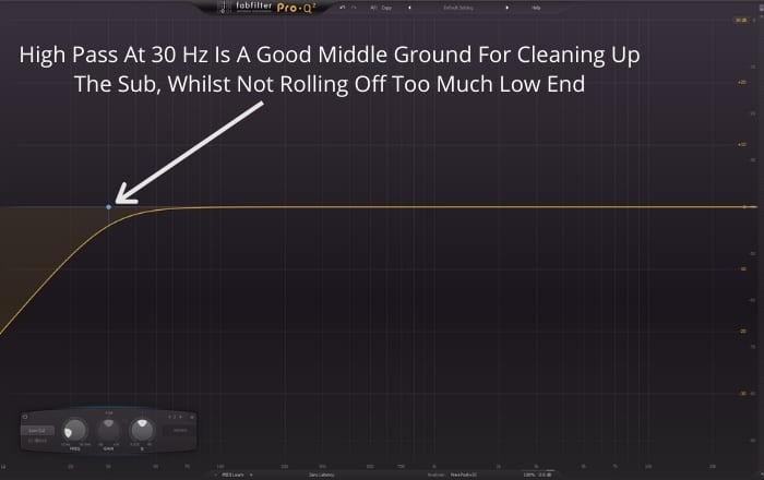 High Pass At 30 Hz Is A Good Middle Ground For Cleaning Up The Sub, Whilst Not Rolling Off Too Much Low End