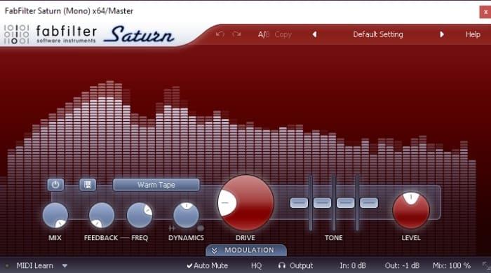 FabFilter Saturn Saturator for bass EQ