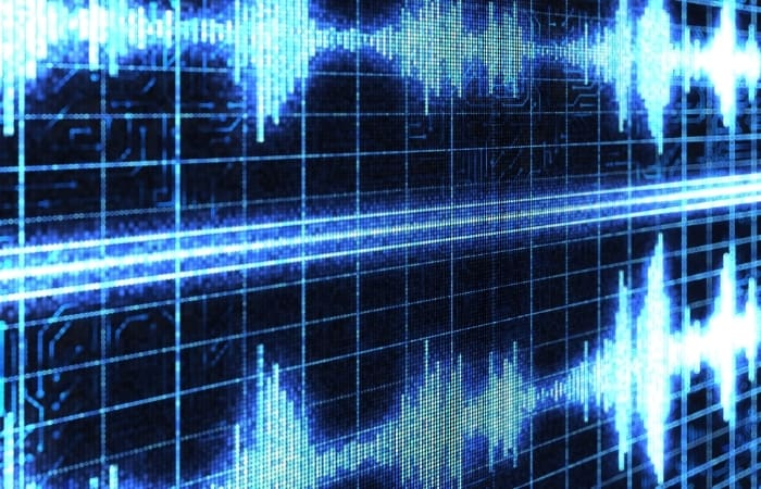 Audio wave in a grid