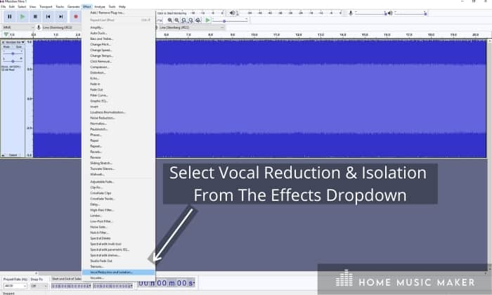 Audacity's Vocal Isolation Feature.
