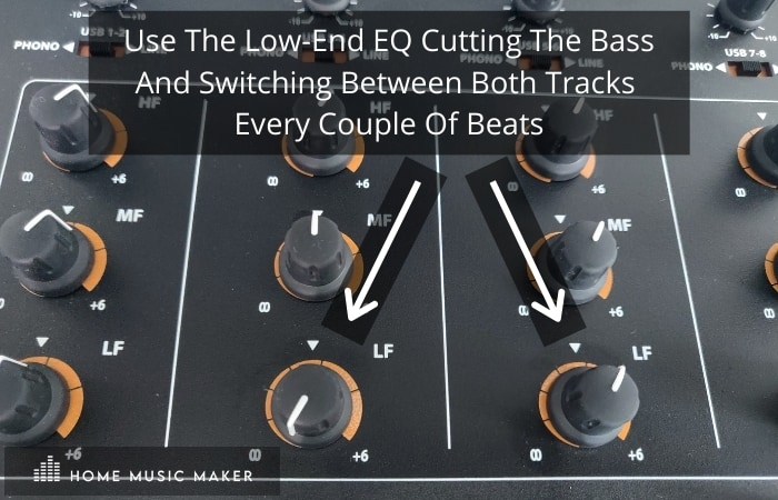 Double drop mixing - Use the same EQ on both tracks, cutting the bass and switching between the songs every couple of beats