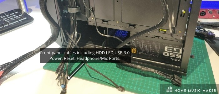 Front panel cables including HDD LED, USB 3.0 Power, Reset, Headphone/Mic Ports.
