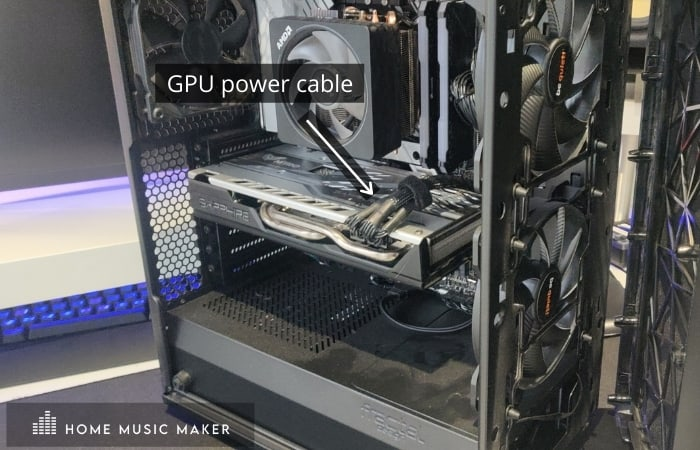 GPU power cable plugged into the card.