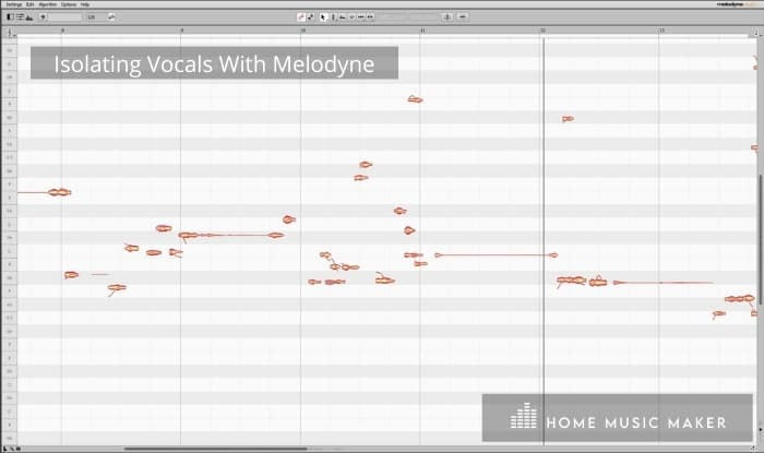 Isolating vocals with Melodyne