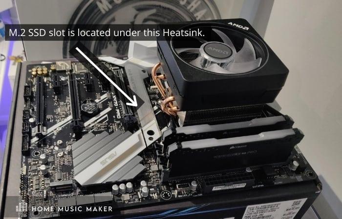 M.2 SSD slot is located under this Heatsink.