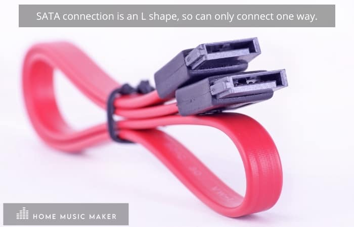 SATA connection is an L shape, so can only connect one way.