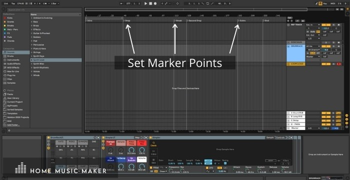 Set marker points in Ableton to help with a track's structure.