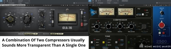A combination of two compressors usually sounds more transparent than a single one