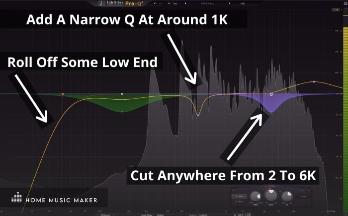 Use an EQ to make vocals sound bigger - Add A Narrow Q At Around 1K -  Roll Off Some Low End - Cut Anywhere From 2 To 6K
