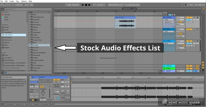 Ableton Stock Audio Effects List - Ableton Live has a whole host of effects that you can use for any number of purposes. Some of my favorites include the auto-filter, saturator, and compressor, which come standard on all editions of Live.