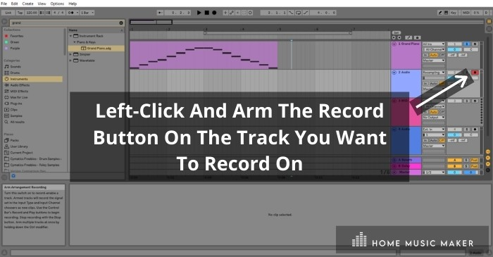 Arm The Audio Track For Recording - Left-click the Arm Arrangement Recording button on the top right of the audio track (the one you want to record onto) to prepare it for recording. Once you click it, it will turn red.