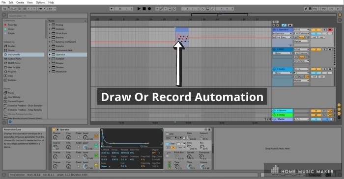 Automation - Ableton allows you to automate almost any perimeter of any instrument or effect in a way that is easy to see on the clip you are automating.