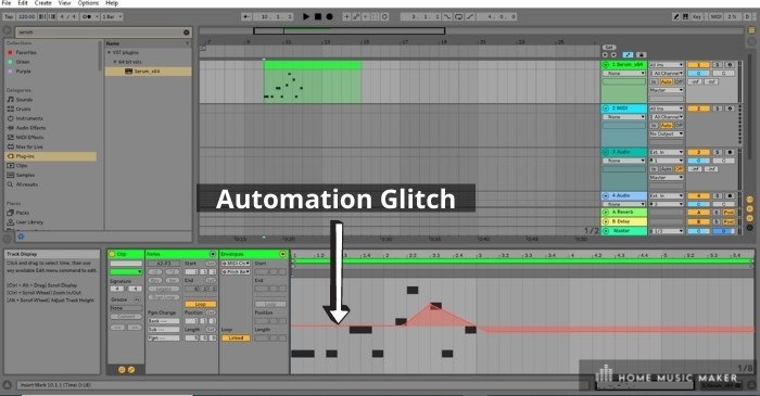 Automation Glitch - there seems to be a glitch in Ableton Live that changes the pitch (or other parameters) within midi clips that have been automated.