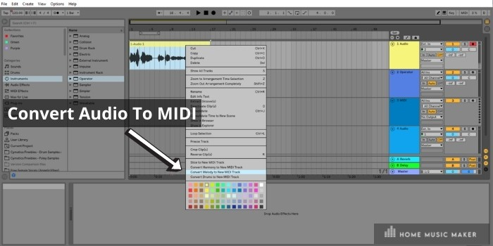 Convert audio to midi - Ableton Standard and Ableton Suite editions have the awesome feature of converting audio samples to midi with two clicks of the mouse button.