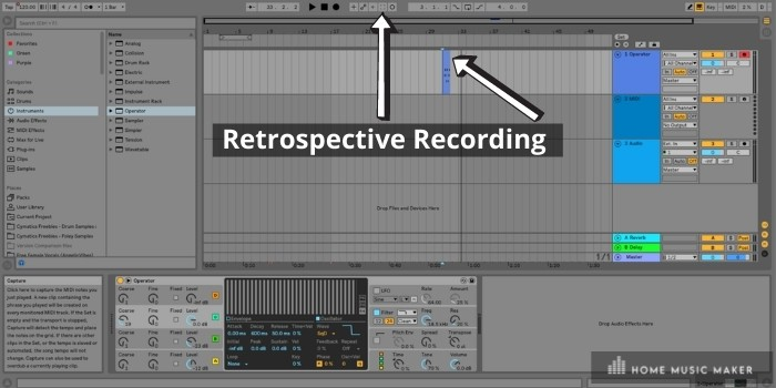 Retrospective recording - If you hit the square button, you will notice that a midi clip will appear on the track you were playing the instrument. It only records a few bars, but usually, this is all you need to recreate your masterpiece.