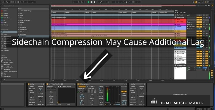 Sidechain Compression May Cause Additional Lag - If you've got Ableton set up with an expansive sidechain compression setup, it's going to use lots of processing power, so that's something to considers before throwing a sidechain on every channel.