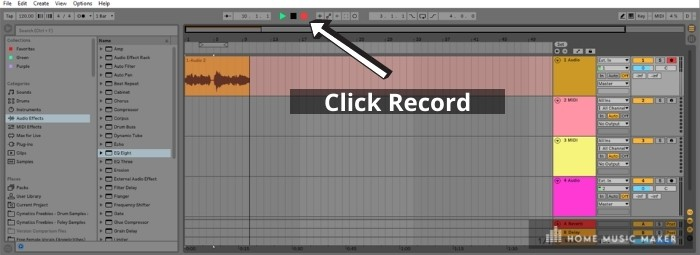 Recording Is Easy In Ableton Live - It only takes a few clicks of the mouse to arm a track for recording. *click the icons that are shown in red, and record.