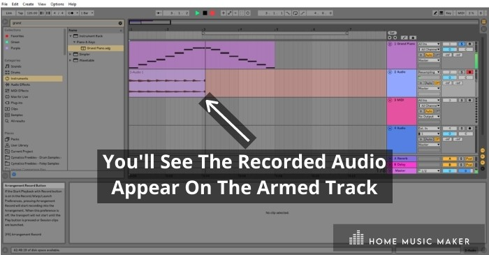Recorded Audio - You'll See The Recorded Audio Appear On The Armed Track