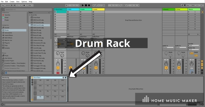 You insert your samples into the 'buttons,' which can be triggered with a controller like the Ableton Push. Or you can create a midi clip and use the piano roll, which will be mapped to the samples in the drum rack.