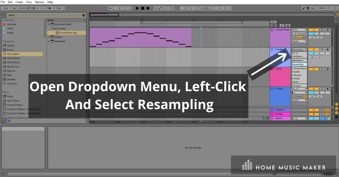 Prepare An Audio Track For Resampling - From the top window box on your chosen audio track, left-click the down arrow and click 'Resampling.'