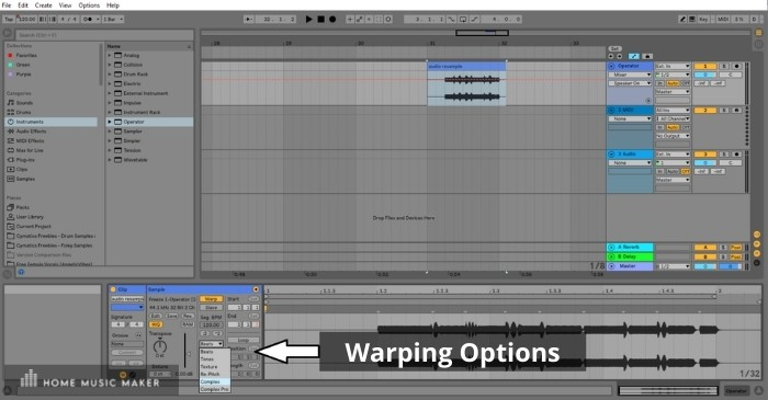 Warping - The idea is that you can warp samples to match the tempo of your project. However, Ableton has provided different algorithmic options for doing this.