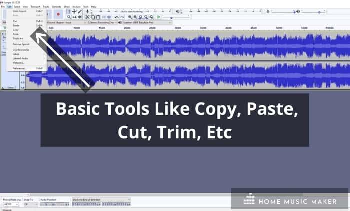 Audacity Basic edit tools