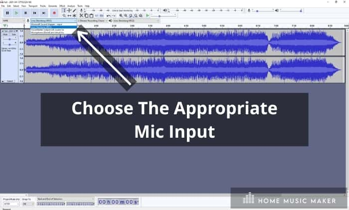 choosing the appropriate mic input -  If you're recording with a single microphone, make sure to set it to 1 (Mono) Recording Channel or 2 (Stereo) Recording Channels if you plan on recording a single sound source with 2 microphones.