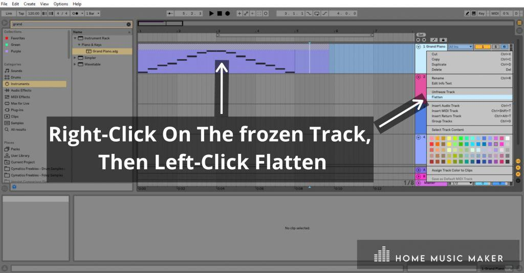 Flatten Track - To commit to bouncing your track to audio, right-click the frozen track and left-click 'Flatten.