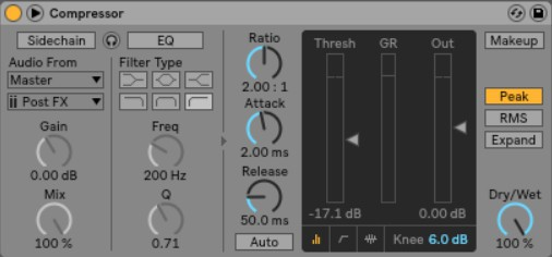 Ableton's stock compressor can handle your signal-squashing, loudness-boosting, sidechaining needs.