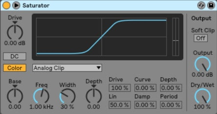 Ableton saturator - Ableton's saturator is similar to an overdrive or distortion effect. It takes an audio signal and transforms it by adding frequencies across the spectrum, using different waveshapes.