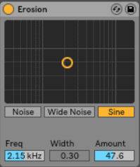 Ableton Erosion - Erosion is Ableton's take on a bit crusher. It takes an audio signal and 'degrades' the sound by modulating a short delay with a sine wave or white noise.