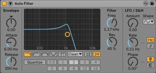 Ableton Auto Filter - Who doesn't love the fade-out and fade-in effect before a big bass drop? Most of the time, when you hear that wooshing pre-drop effect, you are hearing Ableton Live's Auto Filter at work.