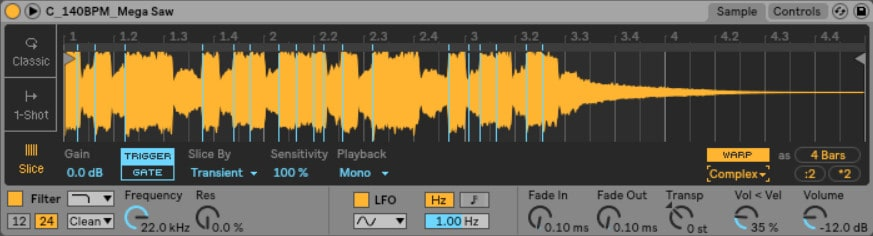 Ableton Live Simpler sliced - If you prefer to play different sections of the sample, you can use the 'Slice' option to map different parts of the sample to your controller.