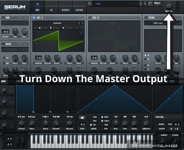 Step 3 - Turn down the master output -  turning down the master output or 'out' knob on the virtual instrument.