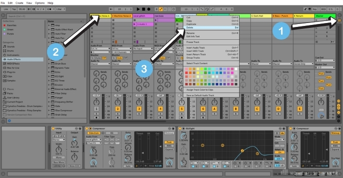 Deleting a track in Session view