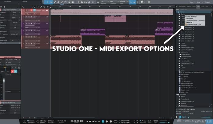 Studio - MIDI export options