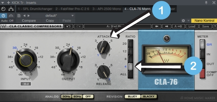 1176 typical settings for the kick drum