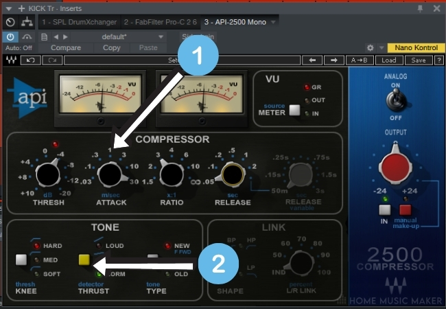 API slow attack fast release for agrresive sound 3
