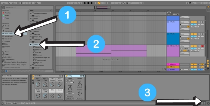 Apply the Utility effect to your midi track