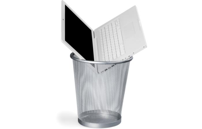 Broken PC in trash
