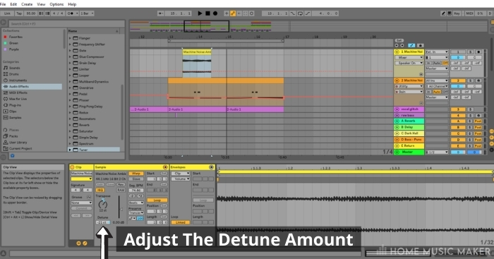 Step 4 Adjust the pitch using the detune function