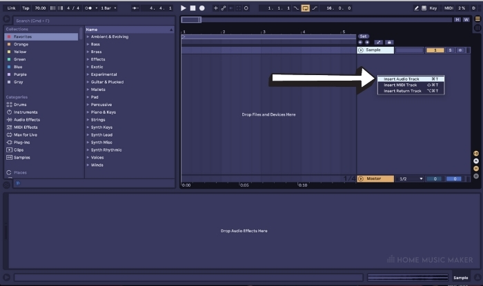 Create An Audio Track In Ableton