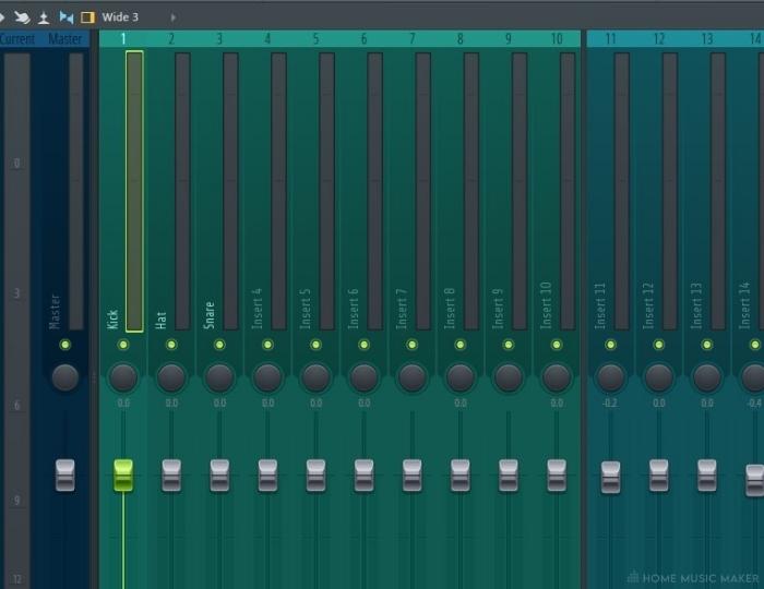 FL Studio highlighted mixer track