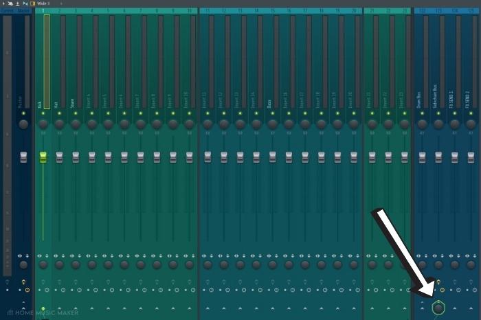 FL Studio select mix bus arrow